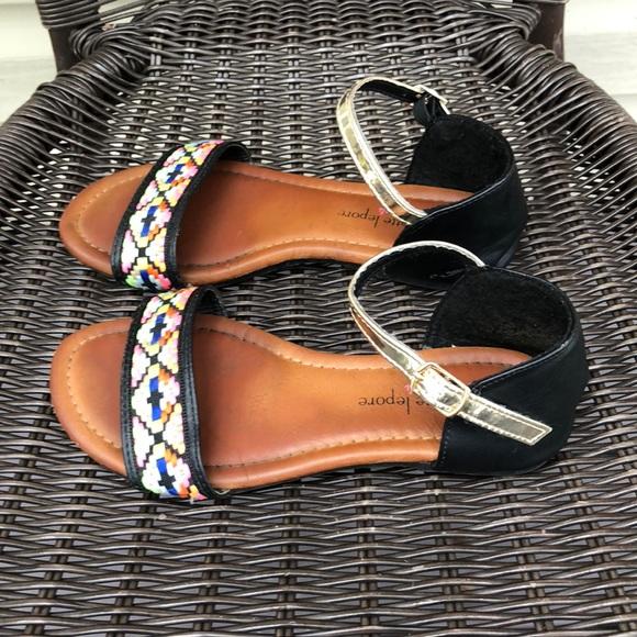 3edbb9455861f Nanette Lepore girls black/brown sandals